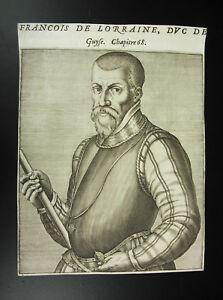 Francois-I-duque-de-Lorena-Bar-Cuadro-grabado-original-Andre-Thevet-XVI-1584