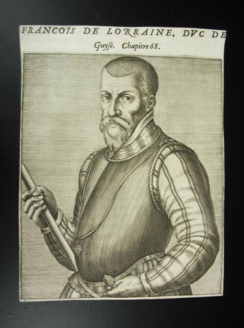 François I duque de Lorena Bar Cuadro grabado original André Thevet XVI 1584