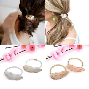 Women Hair Band Rope Holder Leaf Headband Ponytail Elastic Accessory Welcome