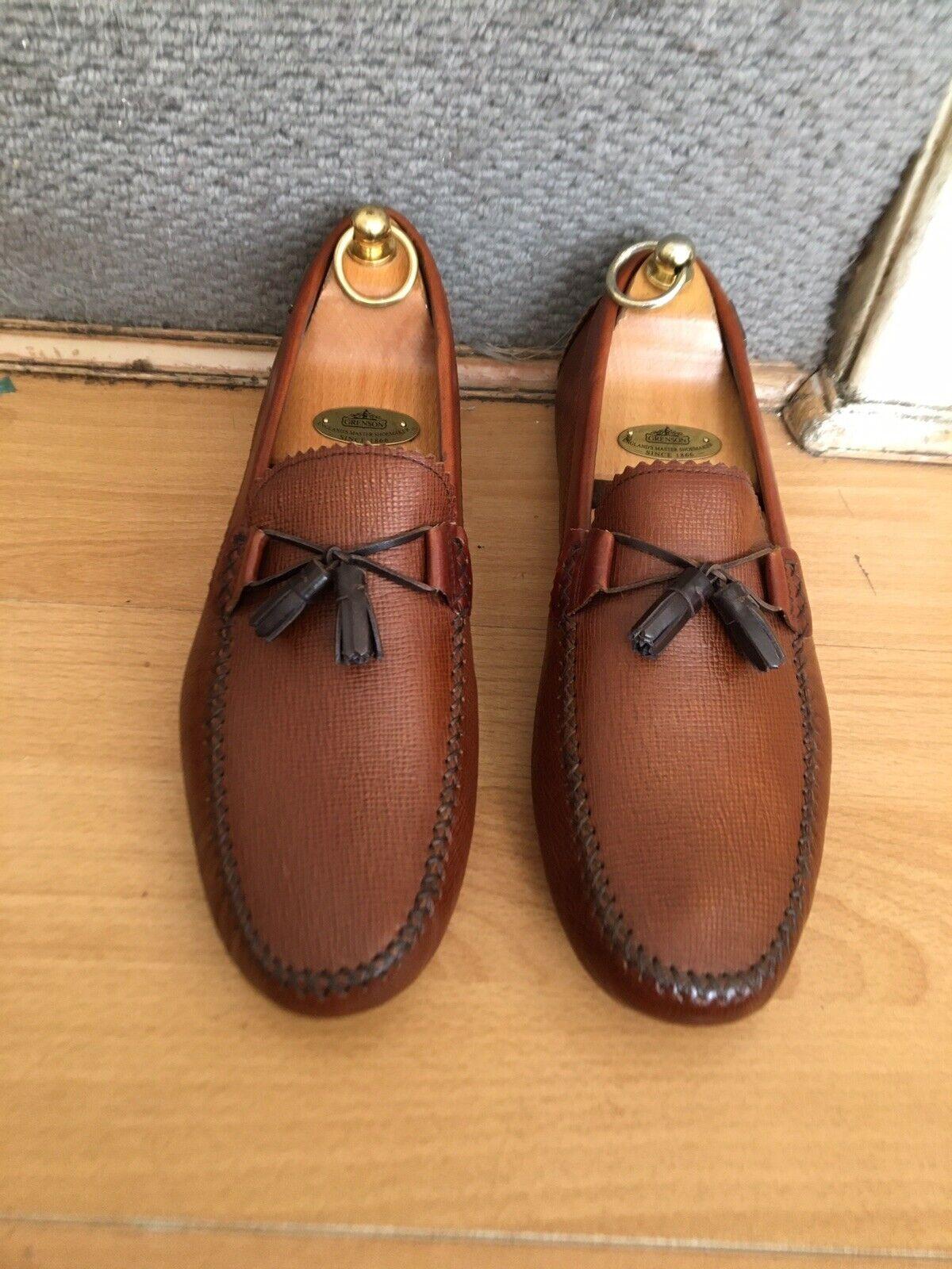 Ted Baker Urbonn Tan Leather Mens Tassel Moccasins Shoes Uk 8, RRP