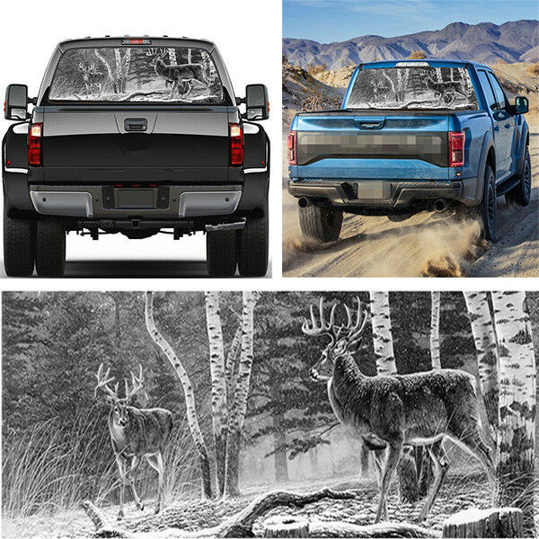 Deer on the Morning Grassland Pick-Up Truck Perforated Rear Window Wrap