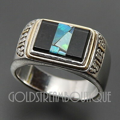 VINTAGE 925 SILVER 14K GOLD BLACK ONYX & OPAL CHIP INLAY PEBBLES SIGNET RING