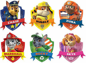 Details About Paw Patrol Dogs Marshall Chase Rubble Rocky Zuma Skye Birthday Icing Cake Topper