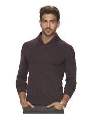 11bee0e3e09c item 1 Marc Anthony Slim-Fit Marled Cashmere-Blend Merino Shawl Sweater  Merlot