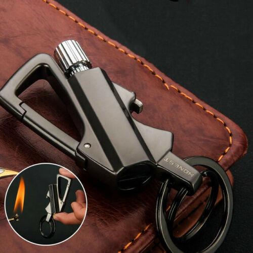 Outdoor Instant Match Lighter Metal Carabiner Bottle Opener Keychain Flint Fire
