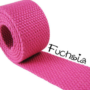 "1 Yard Fuchsia 1.25"" Medium Heavy Weight Cotton Webbing Les Consommateurs D'Abord"