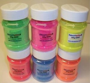 6-X-200g-FLUORESCENT-COLOURS-SAND-SHAKERS-ART-HOME-SCHOOL-USE