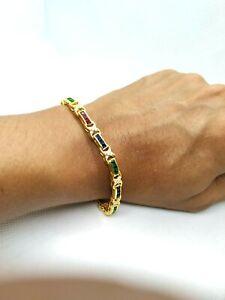Summer-14K-Yellow-Gold-Over-Diamond-Emerald-Sapphire-Ruby-Tennis-Link-Bracelet