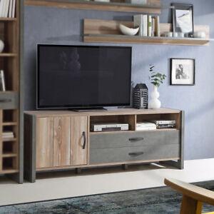 Details zu TV-Board Lowboard Unterschrank Note Wohnzimmer in Picea Kiefer  und Beton grau