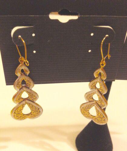 Set #74 5 Pcs Toledo Spain 24K GP Bracelet Earrings Ring Pin Damascene Style