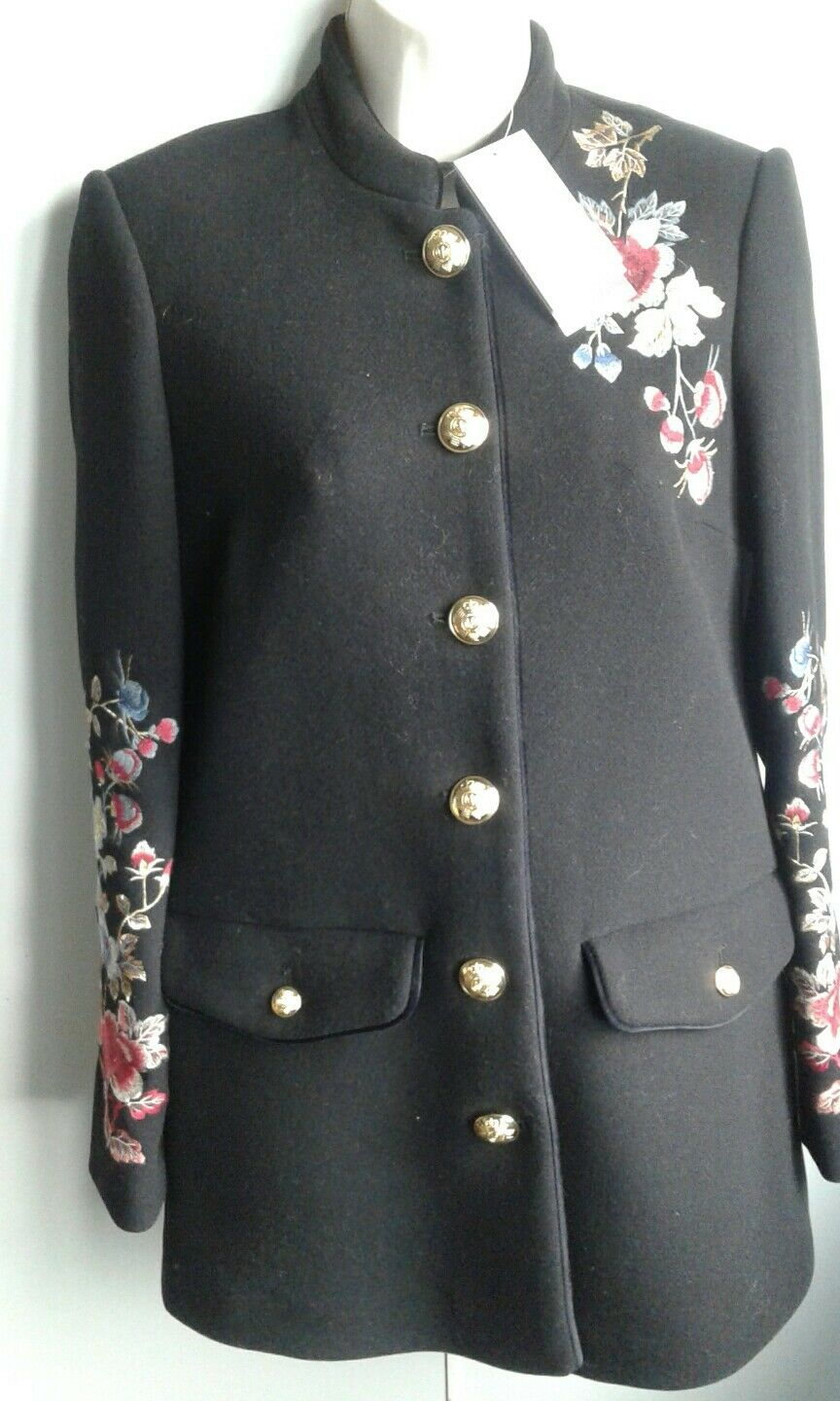 Zara embroidered Flower Coat Size XS New Sold Out
