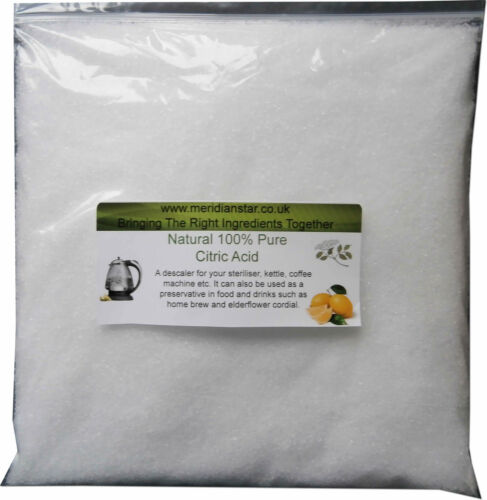 Ácido cítrico 500g esterilizadores Baño Bombas Elderflower Teteras eliminar la Cal