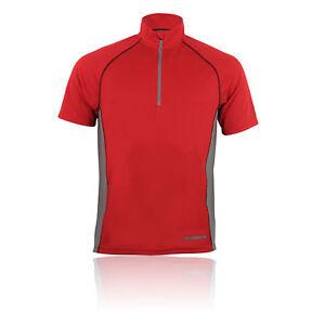 Higher State Hommes Rouge Top Haut Zip Manche Courte Léger Running Sport T-shirt