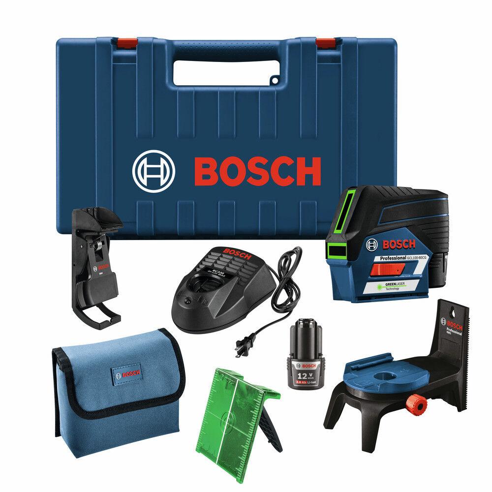 Bosch GCL100-80CG 12V Cross-Line Laser w  Plumb Points (Green) New