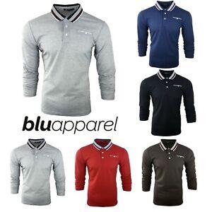 Para-hombre-Plain-Pique-Polo-Gavin-camisa-de-mangas-largas-Top-Calido-Azul-Marino-De-Golf-S-M-L-XL