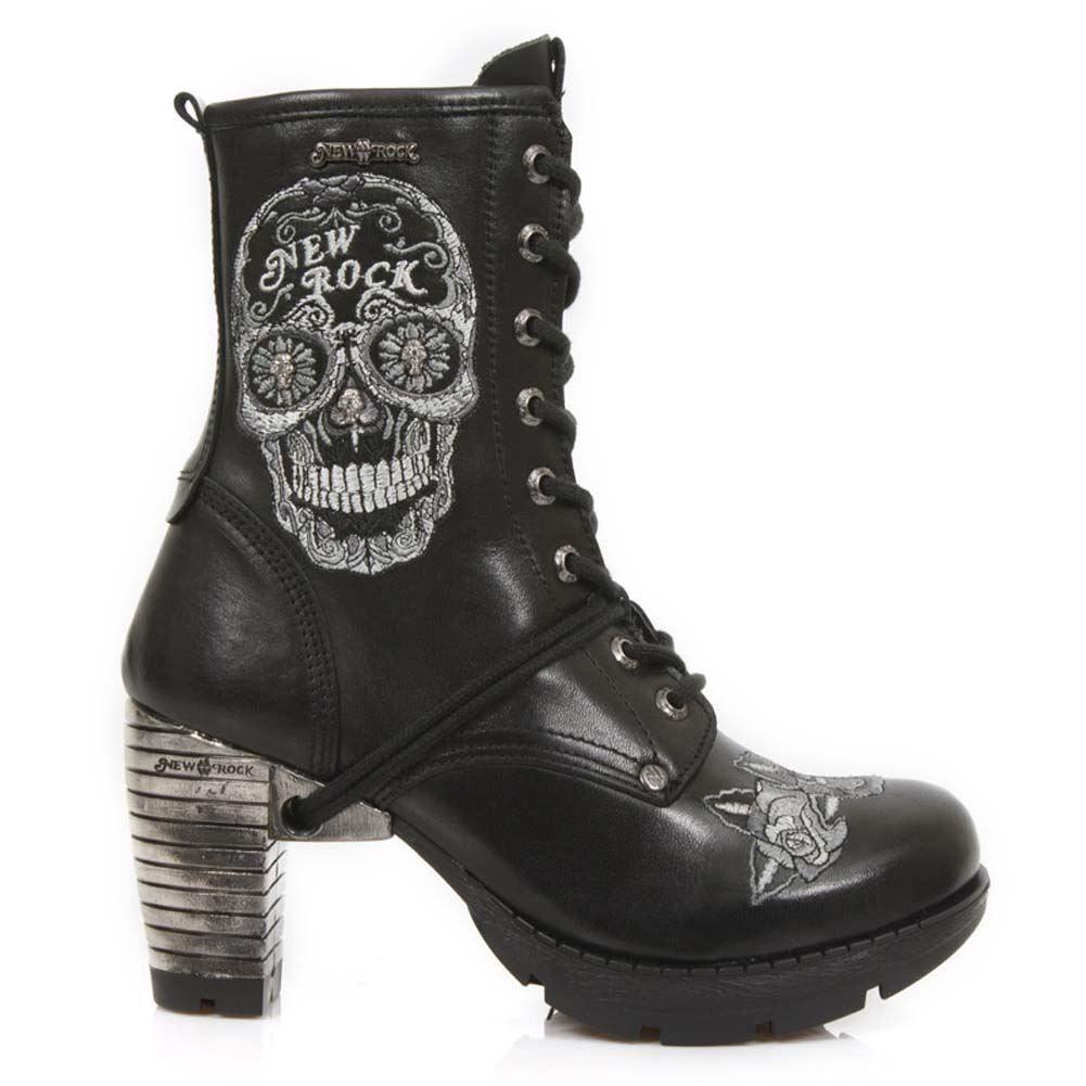 Newrock New Rock tr047 s1 Trail Sugar Skull Bianco Gothic Punk Stivali in Pelle Tacco