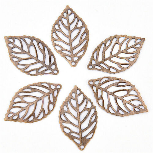 50PCS Hollow Leaves Filigree Metal Crafts Jewelry DIY Accessories Pendant Cute