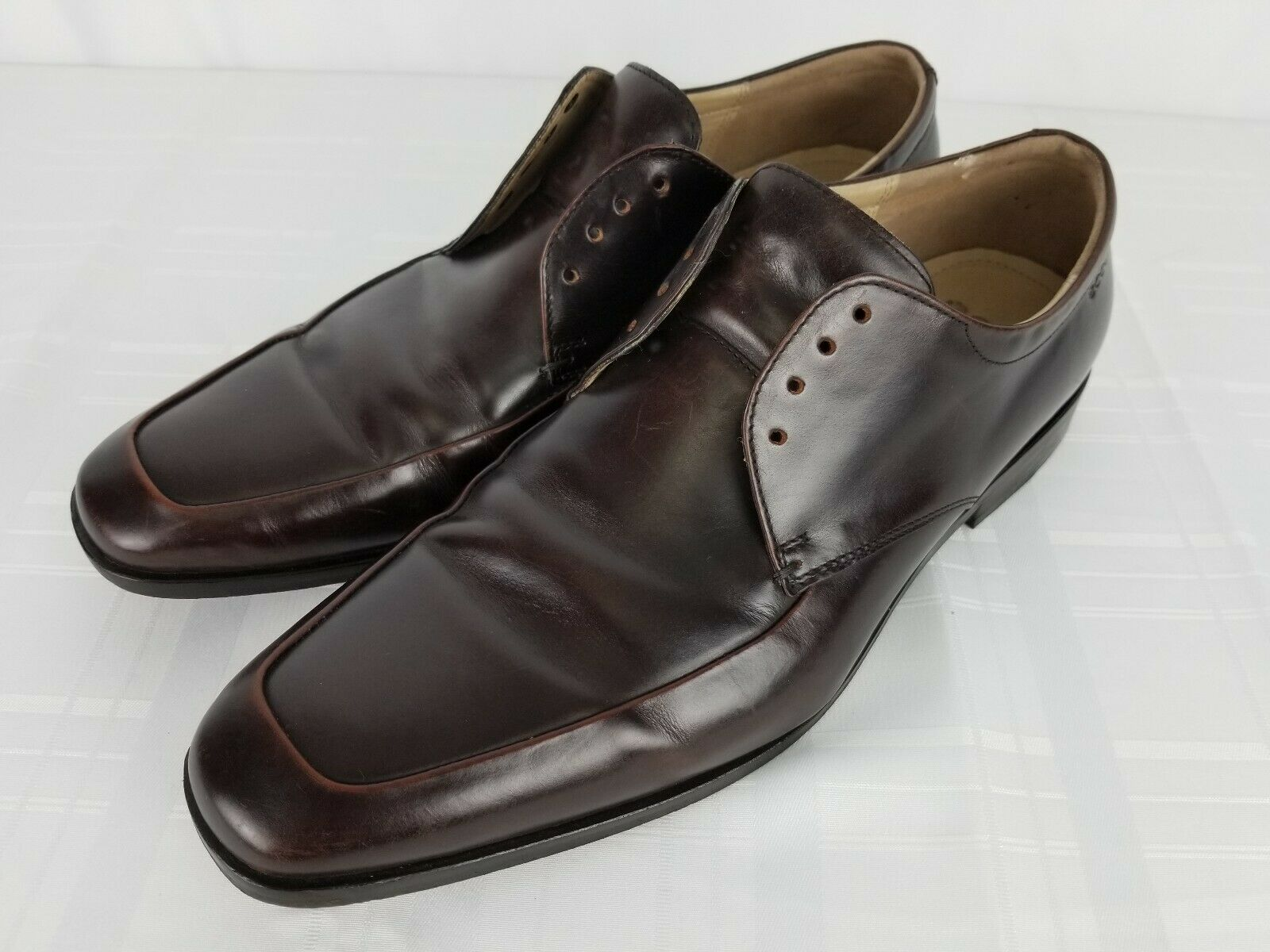 Ecco Dacono Mens Marronee Leather Square Toe Lace Up Oxford sautope Sz 45 US 11 11.5