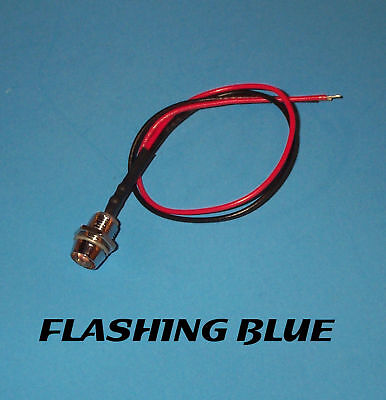 RED FLASHING LED 5mm PRE WIRED 12V CHROME BEZEL