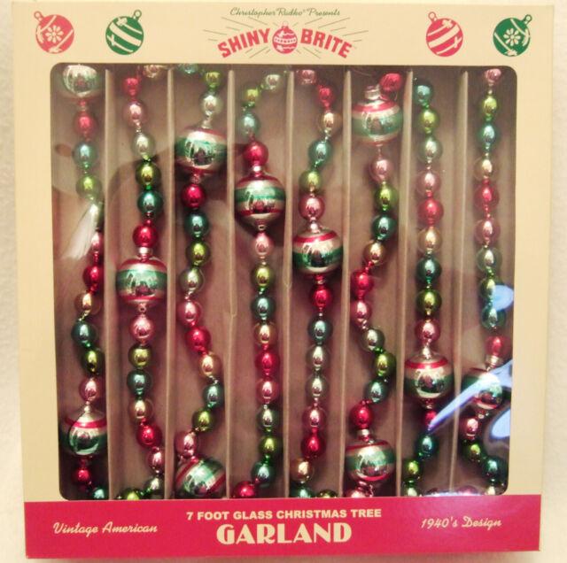Xtra Long 14ft Christopher Radko Shiny Brite 40's Design Christmas Glass Garland