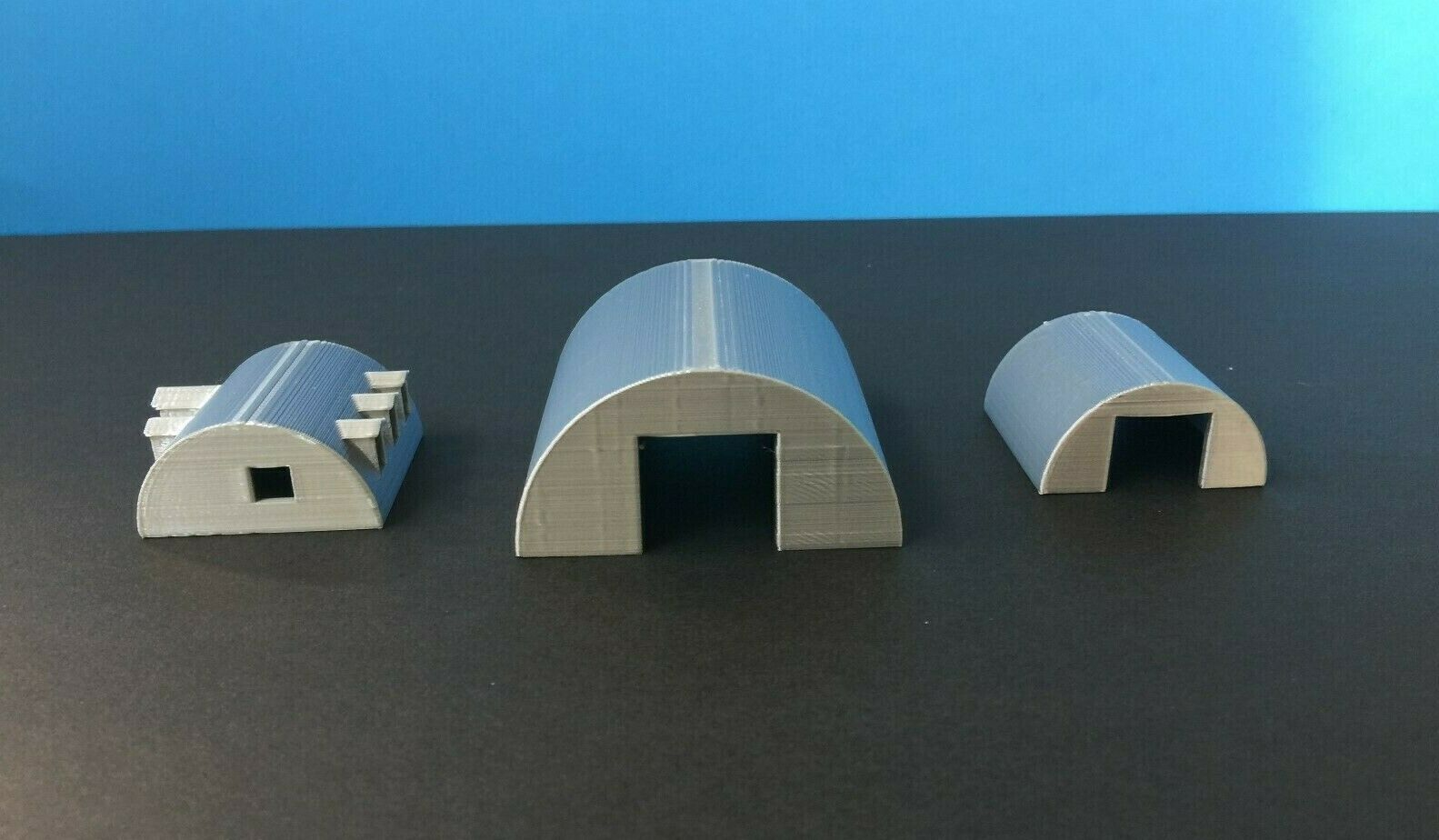 (3) QUONSET Building Set with Office - S Scale - 1 64 Military or Farm Cluster