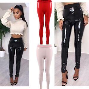 Womens Zip Up PU High Waisted Vinyl Skinny Shiny Wet Look Leggings Trousers Pant