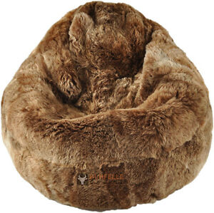 Image Is Loading Eco Lambskin Beanbag Chair Gold Brown Short Wool