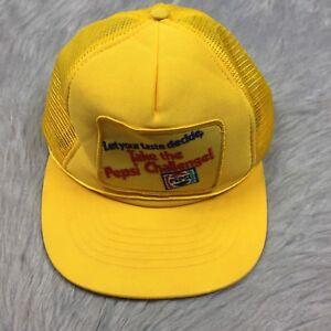 c3c9dae43b1 Image is loading Vintage-Yellow-Pepsi-Soda-Challenge-Mesh-Snapback-Trucker-