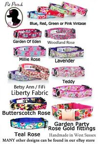 Floral-Handmade-Puppy-Dog-Collar-OR-Lead-Free-P-amp-P-All-Sizes
