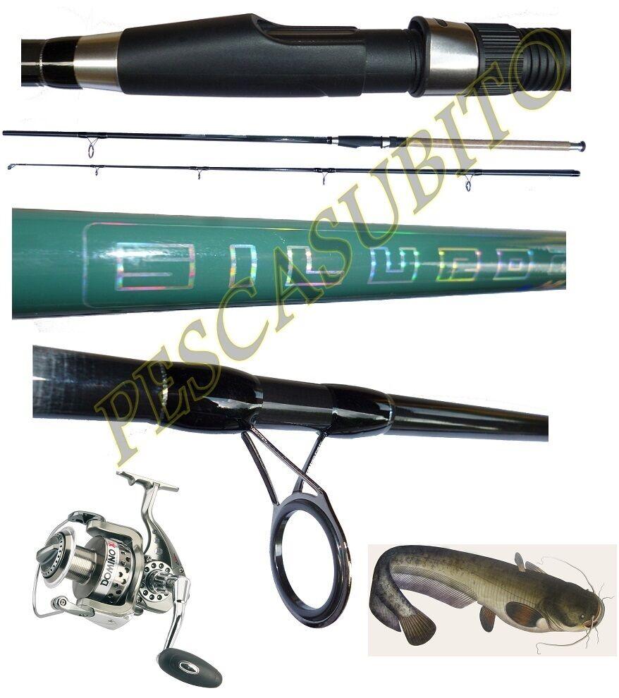 Kit canna siluro 2.70m 300g  mulinello domino pesca break catfishing tp