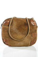 Furla Brown Calf Hair Leather Trim Small Crossbody Handbag