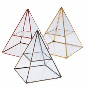 Pyramid Mirrored Jewelry Display Case Vintage Style Brass