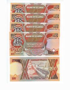 UGANDA-200-SHILLINGS-1996-5-CONSECUTIVE-NOTES-NICE-UNC