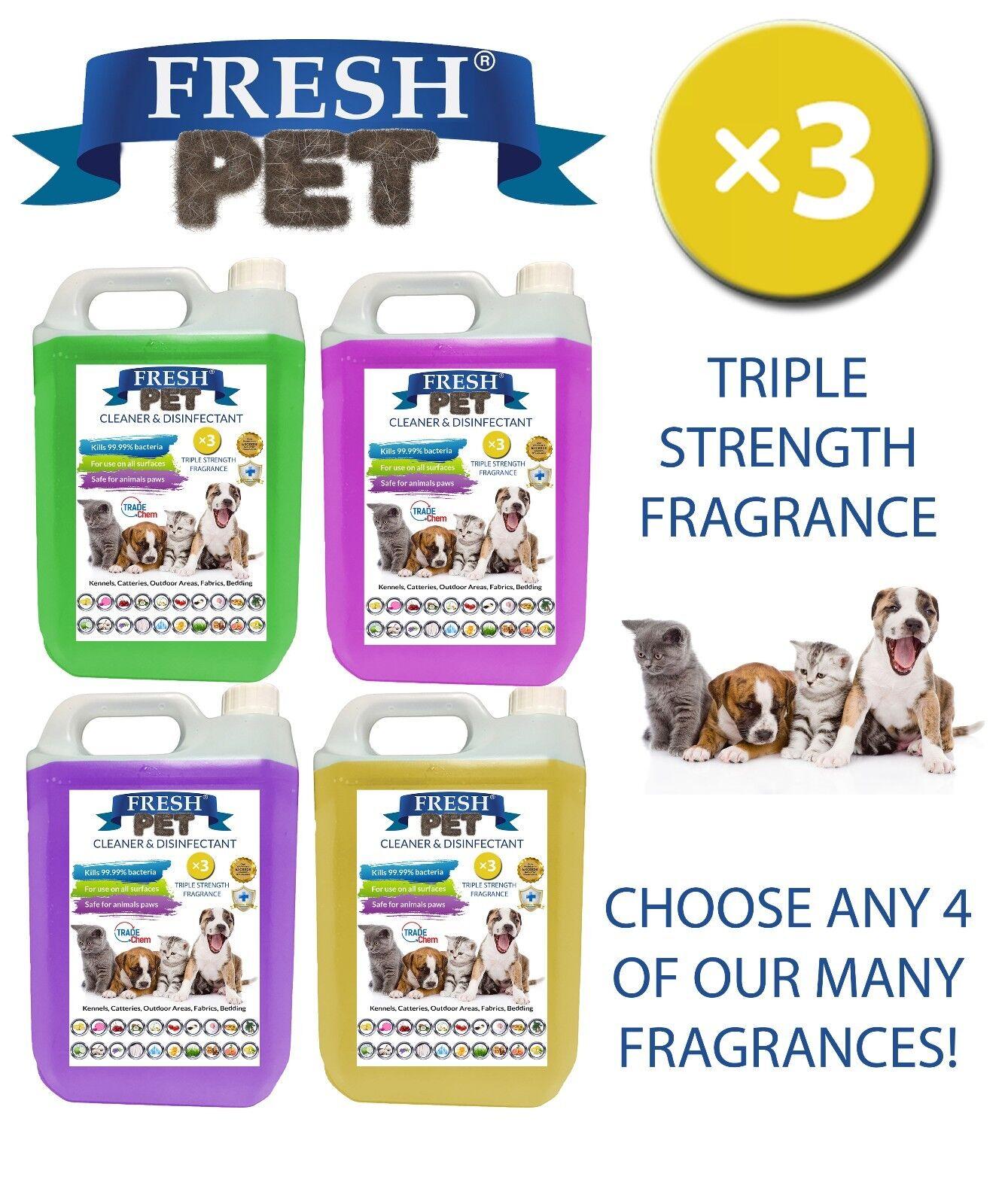 Fresh Pet Kennel Cane Disinfettante Tripla Vigore Fragranza 4x5L Mix And Match