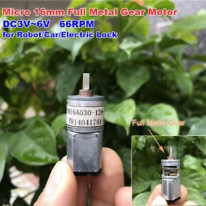 Mini-16mm-Full-Metal-Gearbox-Gear-Motor-DC3V-5V-6V-66RPM-Low-Speed-DIY-Robot-Car