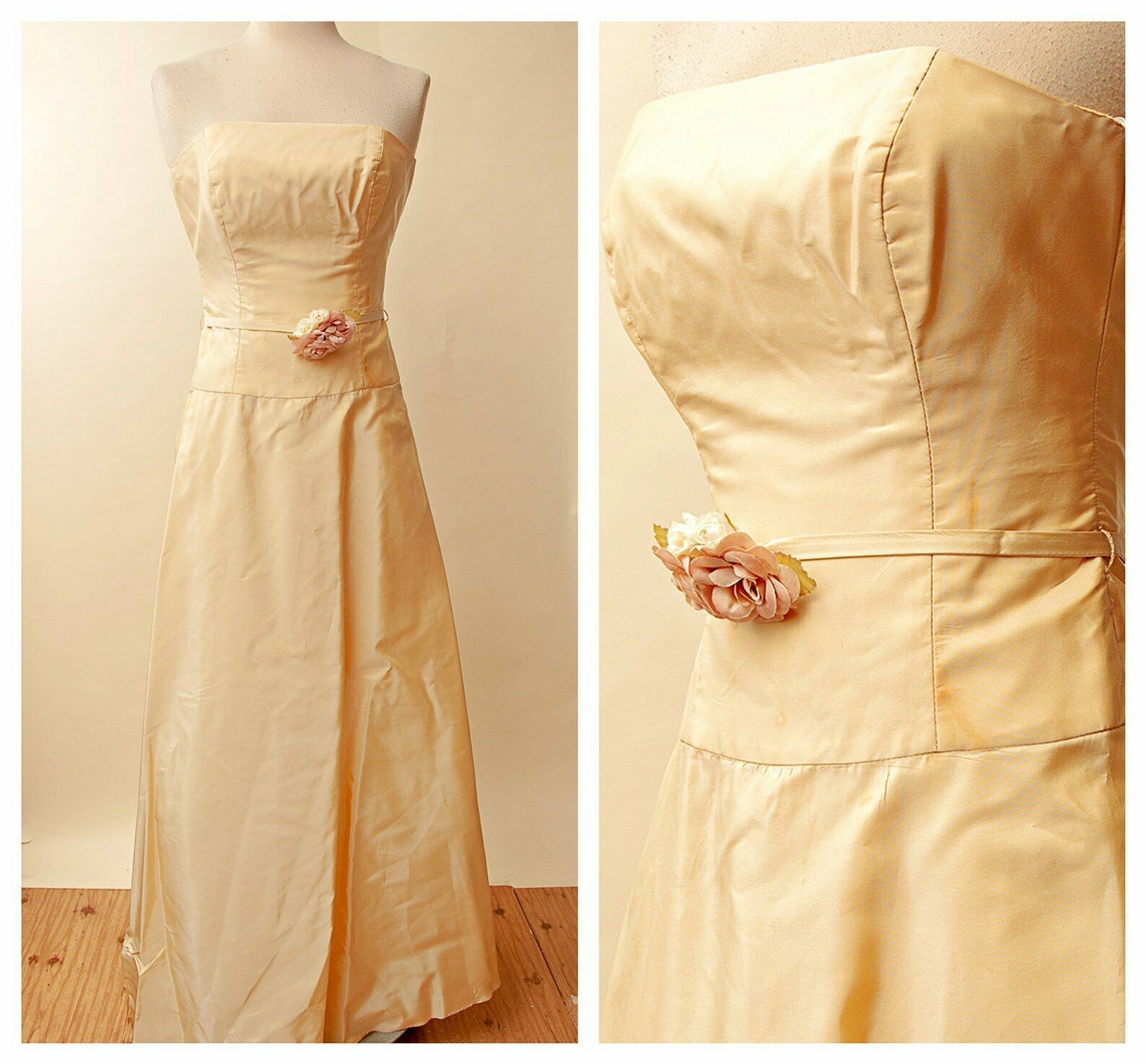 Vintage Yellow Prom Dress   Formal Strapless Evening Gown   1980s Jim Hjelm