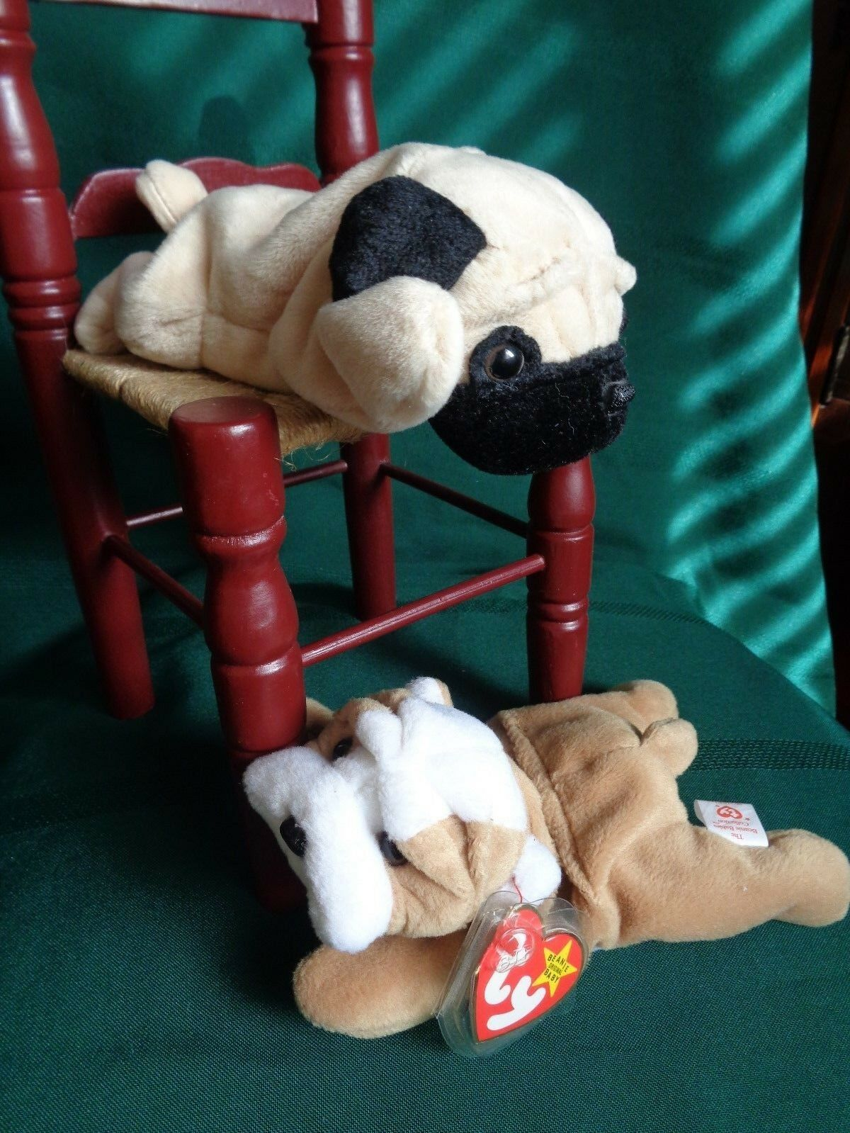 Ty Ty Ty Beanie Babies Wrinkles the Bulldog & Pugsly the Pug w  Tag Errors -Retired c62d62