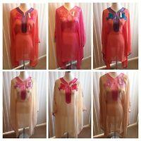 Moroccan Sheer Chiffon Kaftan Embroidery Dress Farasha Abaya One Size & plus Siz