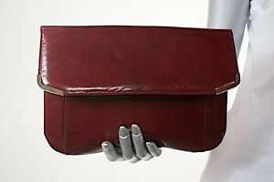 voorwaarde Burgundy fabulousEx Jourdan Clutch Shiney Charles Vintage Leather 13JKTlFc