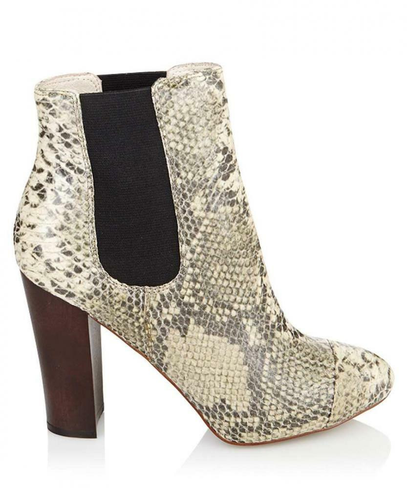 JUICY COUTURE Stiefel ROXANNA IN NATURAL  SNAK EMBOSSED LEATHER SZ 4UK  NATURAL SALE 7bfd40