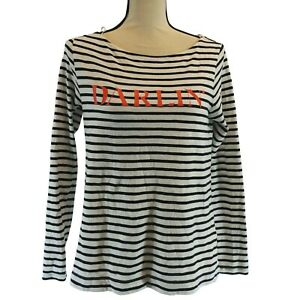 Banana-Republic-Top-Size-Small-Womens-Black-White-Striped-Darlin-Long-Sleeve
