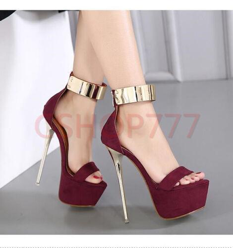 Plataforma sexy Zapatos mujer cm 16 Sandalias abierta para altos Estiletes Tacones Punta Club rrdwazq