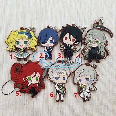 Kuroshitsuji Black Butler Anime Rubber Strap Keychain Keyring Ciel Sebastian