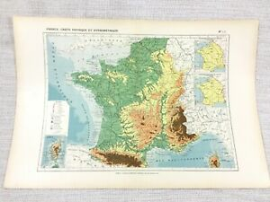 1888-Antique-Map-of-France-Geology-Physical-Hypsometric-FRENCH-19th-Century