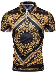 Luxury-Vintage-Baroque-Golden-Flower-Design-Short-Sleeve-T-Shirts-Top-Tees-UK