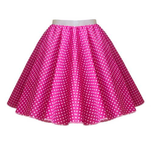 Ladies ADULT 1950s Rock n Roll Polka Dot Dance Skirt Fancy Dress GREASE Costume