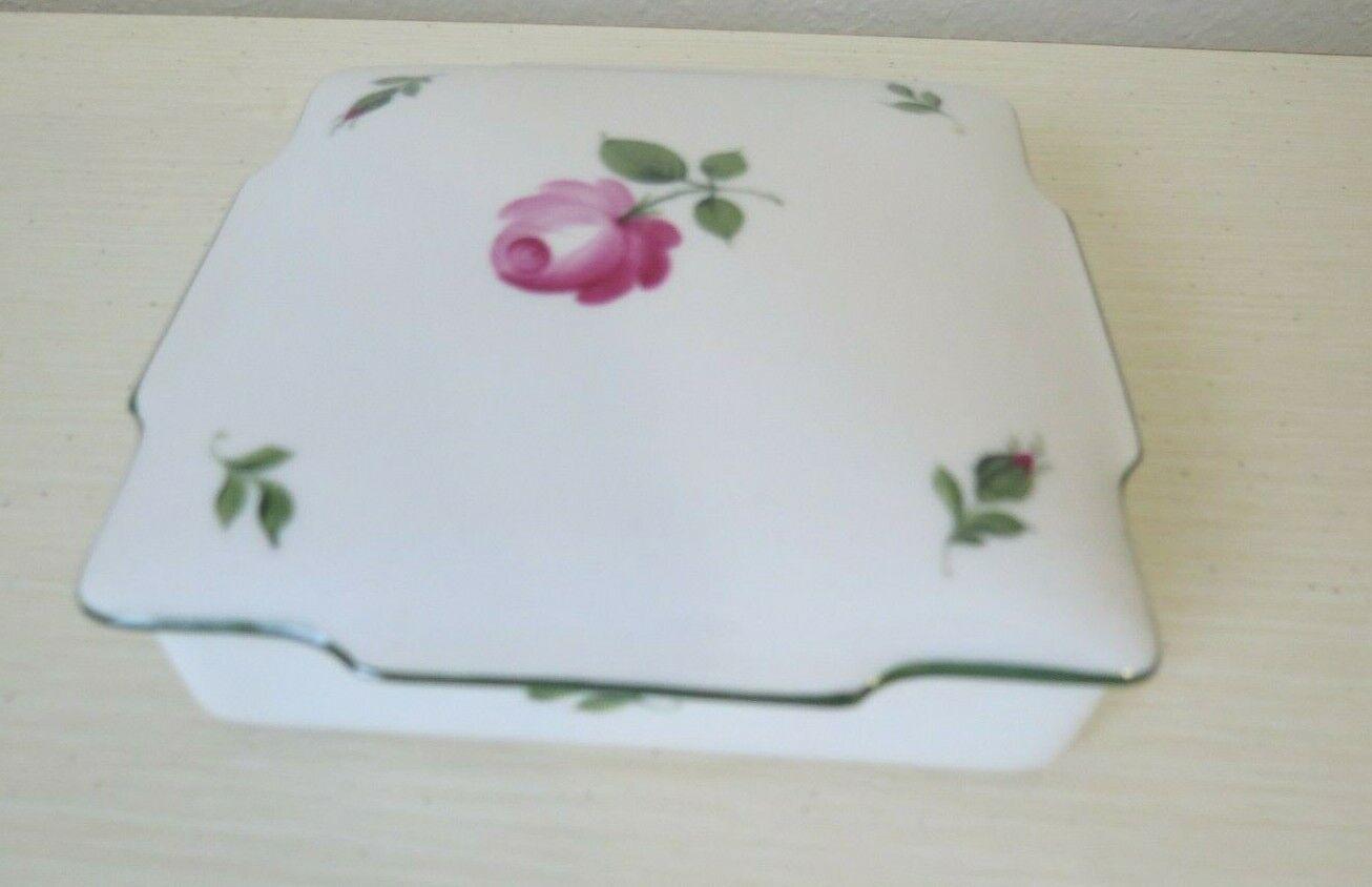 Image 1 - Vintage-WIENER-AUGARTEN-WIEN-Porcelain-PINK-VIENNESE-ROSE-Jewelry-Box