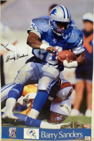 9e519585 BARRY SANDERS DETROIT LIONS 1989 SPORTS ILLUSTRATED POSTER