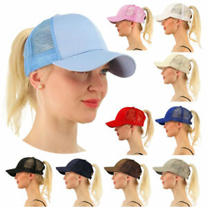 New Women  039 s Ponytail Cap Messy Buns Ponycap Adjustable Mesh ... 10406820573