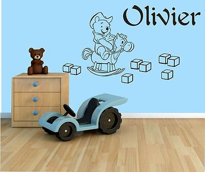 BOYS NAME Bedroom Wall Art Decal/Sticker 3 SIZES  Winnie The Pooh